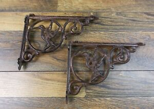 Set Of 2 Vintage Look 6 1 2 X 9 Cast Iron Hummingbird Design Shelf Brackets