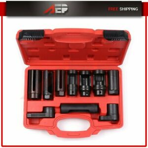 Remove Oxygen Injector Sensor Oil Pressure Sending Unit Diesel Socket Set 10pc