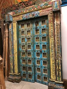 Antique Doors Holistic Om India Yoga Frame Blue Peacock Carved Teak Architecture