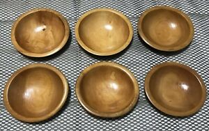 Vintage Lot Of 6 Primitive Rustic Antique Signed Munising Wood Bowls
