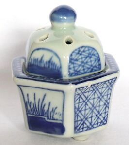 Japanese Vintage Incense Burner Blue White Small Porcelain Hexagon Koro