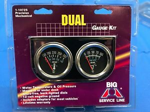 New Chrome Dual Gauge Oil Pressure Mechanical Water Temperature With Hardware