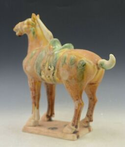 Chinese Old Tang San Cai Pottery Dynasty Palace Zodiac Animal Tang Horse Statue