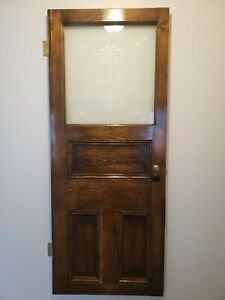 Antique Oak Bar Door With Etched Glass Architectural Salvage