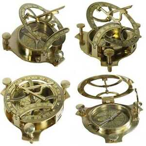 4 Sundial Compass Solid Brass Sun Dial Party