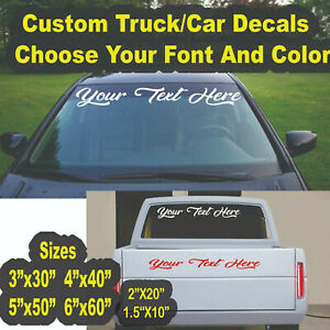Custom Vinyl Text Lettering Decal Windshield Sticker Truck Car Ban Window