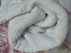 Large White Antique French Hand Knitted Cotton Bed Cover 89 X 80