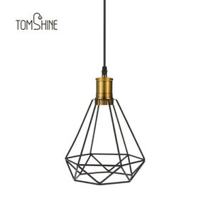 60w Industrial Vintage Cage Pendant Light Iron Diamond Wrought Ceiling Lamp G7i4