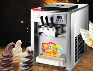 Soft Ice Cream Maker 2 1mix Flavor Twist Soft Ice Cream Making Machine 110v Us