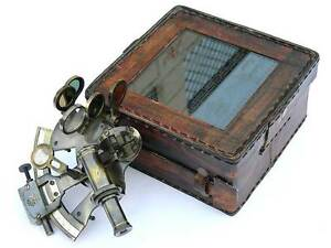 Solid Brass Sextant With Handmade Leather Case Marine Gift Astrolabe Handmade