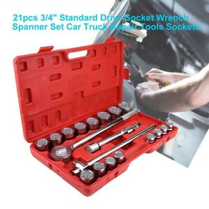 21pc set 3 4 standard Drive Socket Wrench Spanner Car Truck Repair Tool Sockets
