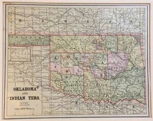 Antique U S Map Oklahoma With Indian Territory