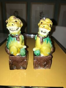Pair 3 Color Sancai Foo Dogs China Vintage 5 1 2 Tall Male Female Ball Pup