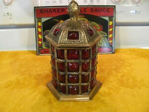 Amazing Looking Antique Molded Red Glass Brass Lidded Compote Dish