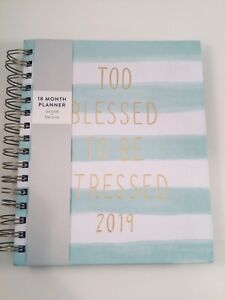 Eccolo 2019 Calendar Weekly Monthly Planner student Too Blessed To Be Stressed
