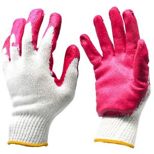 Premium Red Latex Rubber Palm Coated Garden Work Safety Gloves Made In Korea