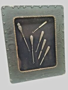 Antique Sterling Silver 6 Pc Manicure Button Hooks File In Shadow Box