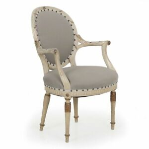 Vintage French Chair Antique Louis Xvi Style Gilt White Painted Arm Chair