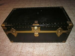Vintage Antique U S Trunk Co Black Steel Brass W Leather Straps Steamer Chest