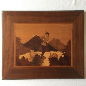 Vtg Folk Art Wood Marquetry Inlay Winter Mountain Landscape Lodge Cabin Decor
