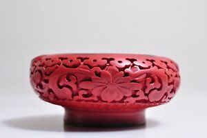 Antique Red Carved Cinnabar Ashtray Flowers