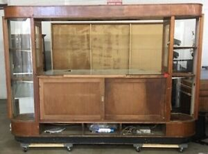 7 Tall 1930s Art Deco Glass Front Locking Commercial Display Case On Casters