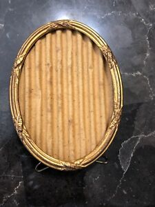 Antique Picture Frame 1908 Gold Metal Oval Table Top Patented 1900s Victorian