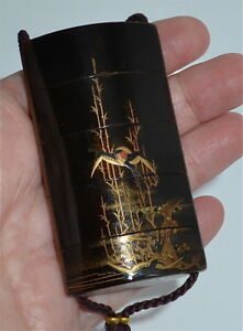 Antique Japanese Meiji Gold Makie Black Lacquer 5 Case Inro Bird Signed