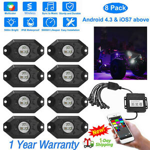8pc Pods Car Auto Rgb Led Rock Light Offroad Wireless Music Controller Us Stock