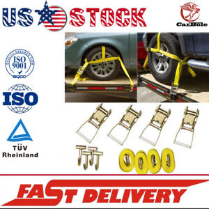 12pcs Lasso Wheel Lift Straps Ratchet J Finger Hook Tow Towing Tie Down Truck Us