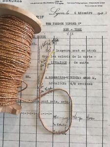 4 Yd Vintage Antique French Copper Metallic Beadette Cord Trim 1 16 Lampshade