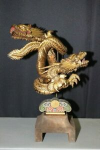 Im 13 Old Dragon Design Wood Ornament With Gyoku Gan Ball Eye Edo