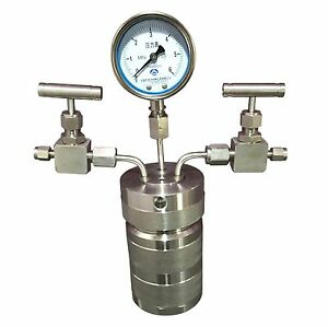 100ml Lab Hydrothermal Synthesis Autoclave Reactor Inlet Outlet Gauge