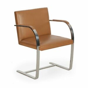 Modern Leather Chairs Knoll Mies Van Der Rohe Brno Arm Chairs Two Available