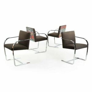 Modern Dining Chairs Mies Van Der Rohe Style Set Of Four Vintage Arm Chairs