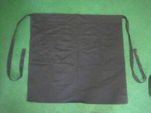 Lot Of 9 Black Waist 2 pocket Aprons 27 X 26 With 33 Ties Each Side New