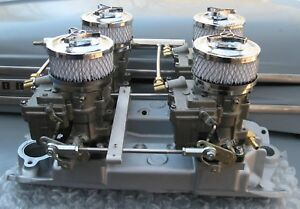 Complete Small Block Chevy 4x2 Set Up With Rochester Carbs And Custom Linkage
