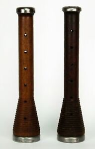 Pair Of Antique Wooden Bobbins Spools With Pewter Caps As Candlesticks