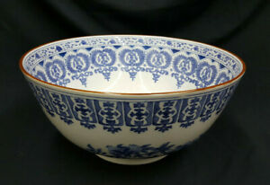 Vintage Asian Blue White With Gold Trim Large Deep Porcelain Bowl