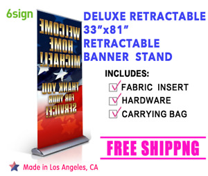 Deluxe Retractable 33 81 Roll Up Banner Stand Trade Show Display free Printing