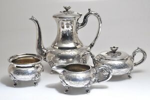 Vintage Sheffield Silver Co Hand Chased Silver Plate Tea Set No Monogram