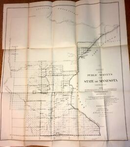 State Of Minnesota Sketch Of Public Surveys Map Surveyor General Original 1859