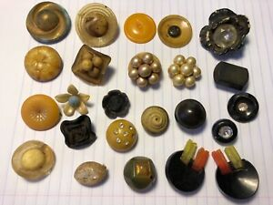Vintage Antique Old Lot Of 24 Buttons Celluloid Bakelite Mixed Size