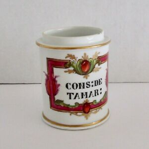 French Apothecary Jar Ceramic France Arrow Mark Cons De Tamar No Lid Vintage