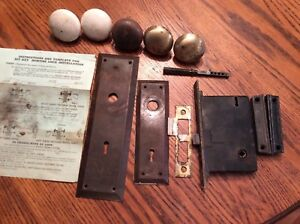 Vtg Brass Door Lock Set Mortise Back Plates Knobs Reading Rh Co W Key Nouveau