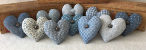 Primitive Ornies Mini Country Blue Hearts Prim Ornies Bowl Fillers Tucks Nodders