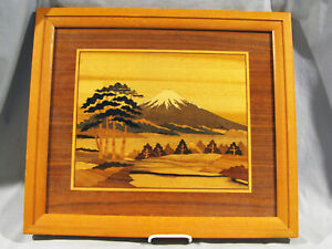 Vintage Japanese Inlaid Wood Marquetry Picture Mt Fugi
