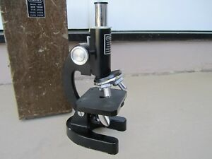 Vintage 1970 s Perfect Model 805 Microscope With Original Wooden Case japan