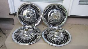 1964 1966 Pontiac Gto Lemans Tempest Spinner Wire Hubcap Wheel Cover Set oem 14