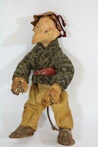 Vintage Folk Art Doll Ooak Made W Rope Paper Machet Leather Cloth 1920s Or Befor